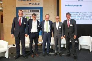 v.l.n.r: Thomas Jebsen (DKB), Dr. Thomas Götzen (Interboden), Andreas Ibel (BFW-Präsident), Paolo Ferreira (BOSCH), Raymon Deblitz (Telekom)